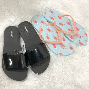 NWT Old Navy Slides & Cocktail Print Flip Flops 8